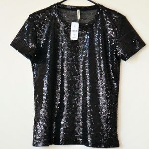 NWT Emma and Sam Black Sequin Top